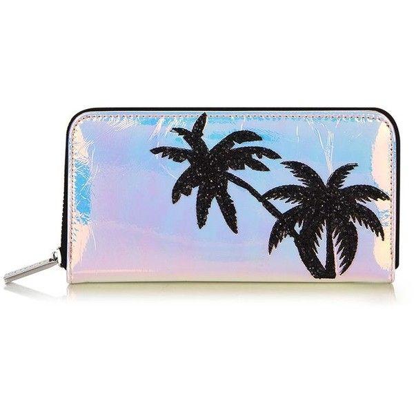 Palm Shimmer Purse by Skinnydip ($23) ❤ liked on Polyvore featuring bags, handbags, topshop handbags, plastic zipper bags, blue hand bag, handbag purse and zip purse