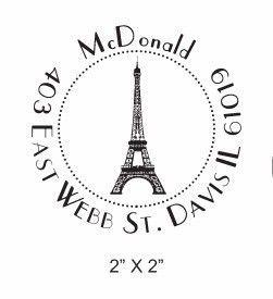 Custom Return Address Paris Eiffel Tower Rubber Stamp AD58