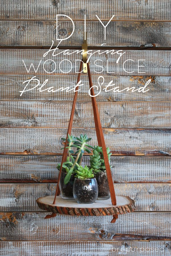 34 Wood Slice Home Décor Ideas: How To Make A Hanging Wood Slice Plant Stand