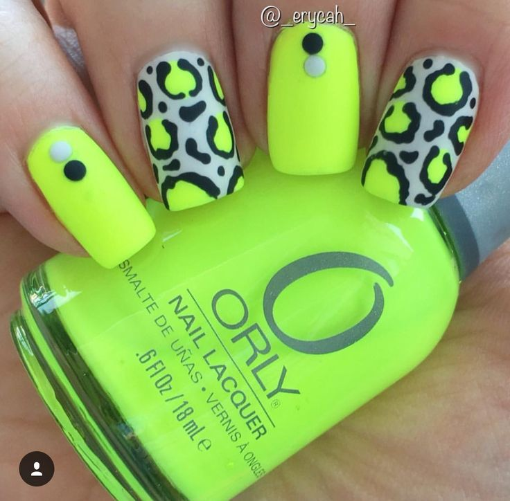 Neon Yellow Leopard Nails Orly - Glowstick