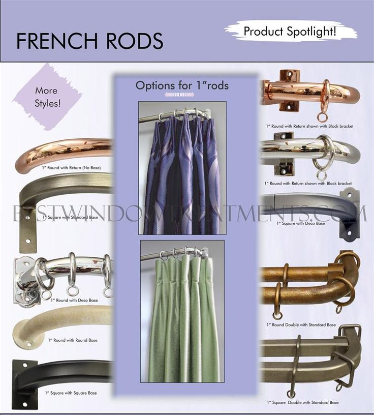 French Style Custom Curtain Drapery Rods : Made in the USA! Iron rod perfect for extra long spans with no center support bracket (limit applies). Dozens of finish colors from hard to find, polished metals like nickel and copper to matte black, pewter or bronze. Choose from various end bracket styles and even double rod sets. This rod that returns to wall is not only functional (especially for blackout drapes) but a look interior designers love, because it is a timeless classic and built to…