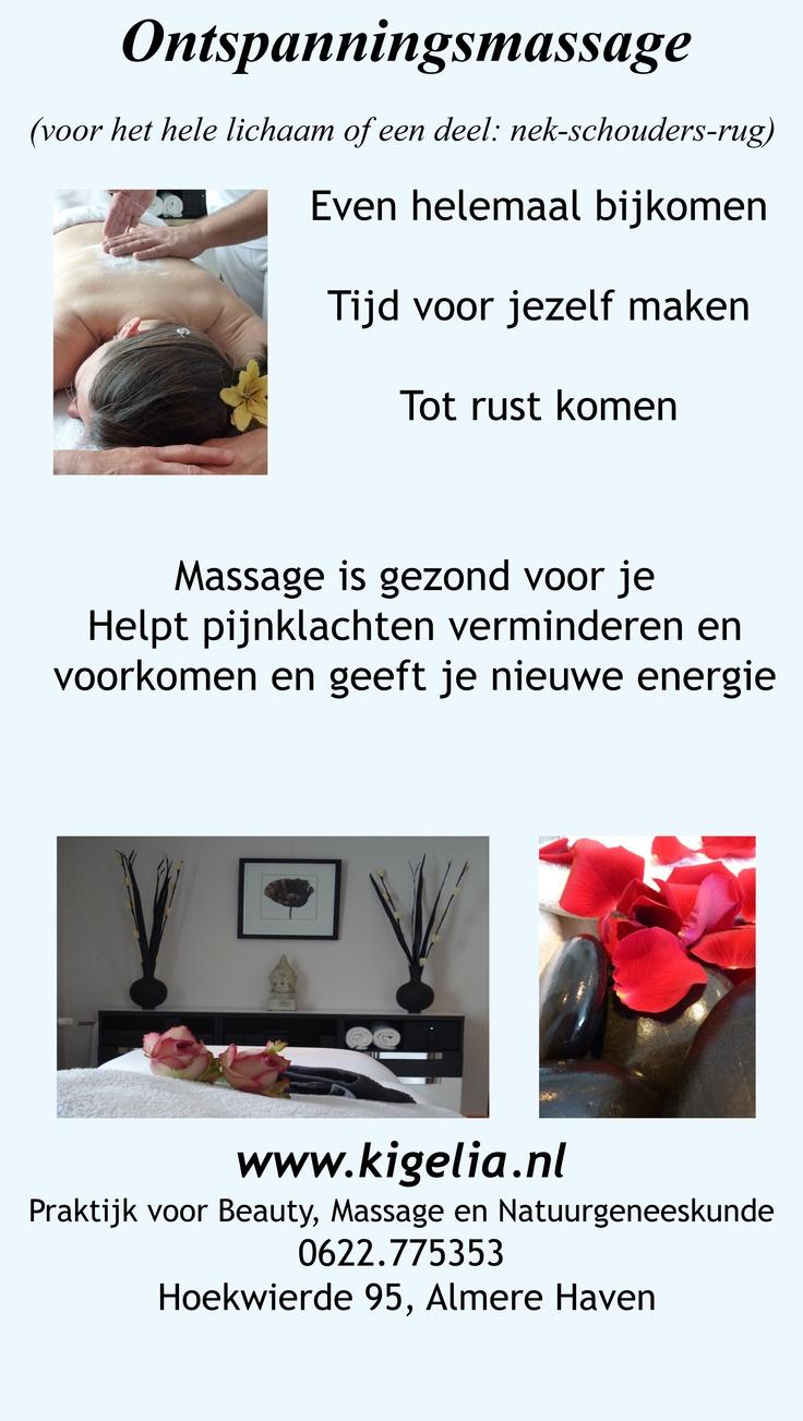 Even helemaal bijkomen, Tijd voor jezelf manken, Tot rust komen. Ontspanningsmassage voor het hele lichaam of alleen nek/schouders: Kigelia, Hoekwierde 95, #Almere Haven www.kigelia.nl