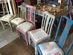 Hand Painted Patchwork Chairs, Multicoloured Patchwork Dining Chairs, Blues,   eBay
