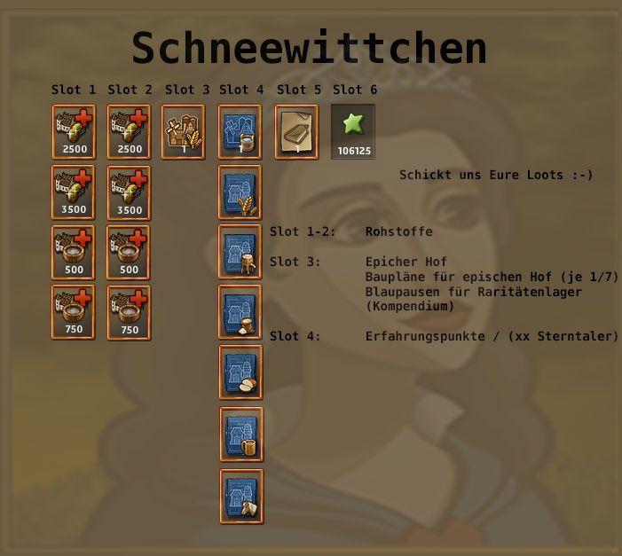 http://www.zwergenstadt.com/siedler/dso-unternehmungen-loots.php Excelsior AT Schneewittchen Kampagne DIe böse Königin