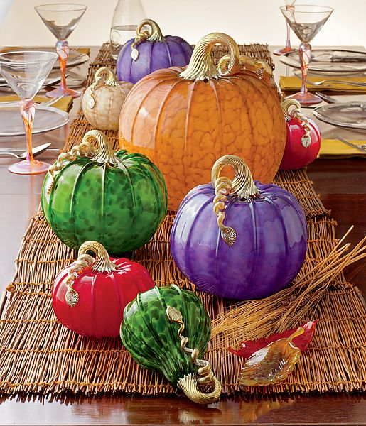 Celebrate autumn with a bountiful harvest of art! Art glass pumpkins and leaves make an exquisite centerpiece for Thanksgiving parties and holiday celebrations. Add an artist-made touch to your table settings to make your tablescape truly extraordinary.