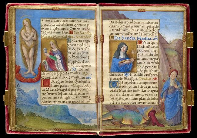 July 22 is the feast day of Mary Magdalene. The saint appears on the left-hand side of these pages from the Prayer Book of Queen Claude de France