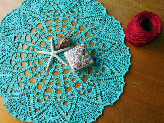 Round aqua crochet tablecloth 40cm or 15.74 by ThreadloveByEdith