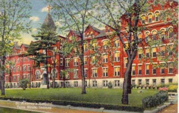 Old St. Anthony Hospital, Terre Haute, Indiana.....Where my husband was  born. The building has been gone for several years.