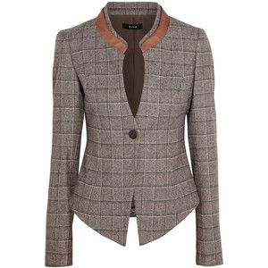 Suno Leather-trimmed checked wool-tweed blazer
