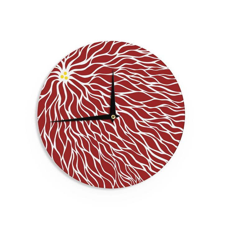 "NL Designs ""Swirls Poinsettia"" Maroon Wall Clock"