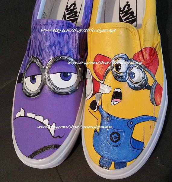 If not in the store, they are available upon request.  Just drop me a note at Etsy.  Despicable Me Minions Evil Purple vs Yellow Fireman Custom Painted Shoes Bee Do Bee Do