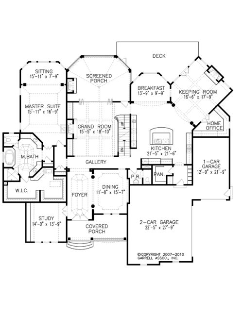 The Mon Chateau House Plans First Floor Plan - House Plans by Designs Direct.