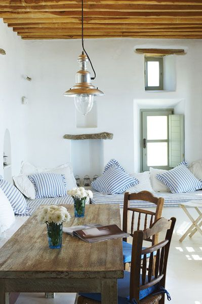 Mediterranean-styling with whitewashed walls.