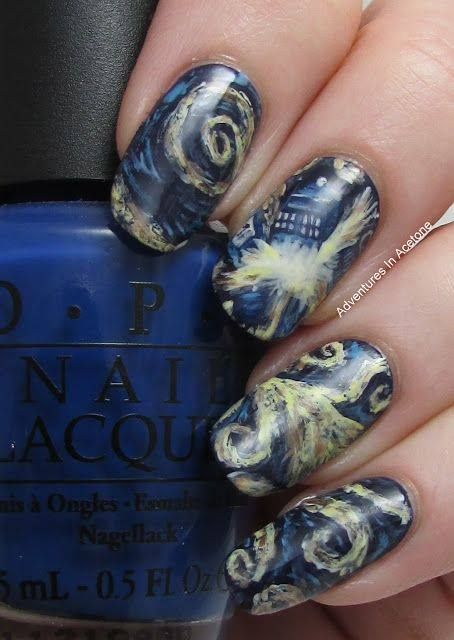 Doctor Who Exploding TARDIS nail Art #doctorwho