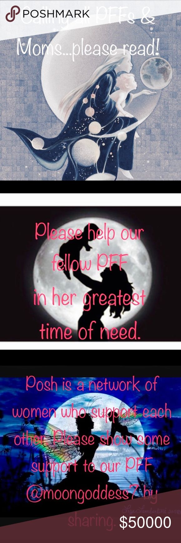 """🙏🏻Reaching out to help our PFF @moongoddess7 I've made this listing for a fellow PFF who is in the midst of the worst possible thing that a mother can go through. Her little boy is battling for his life. She has already lost one of her boys and I can't imagine the pain she is going through now. I'm asking each of you to """"donate"""" shares of her listings as she is by his side like any mom would be. She still has to pay medical bills somehow and doesn't have time to share her closet. Please…"""