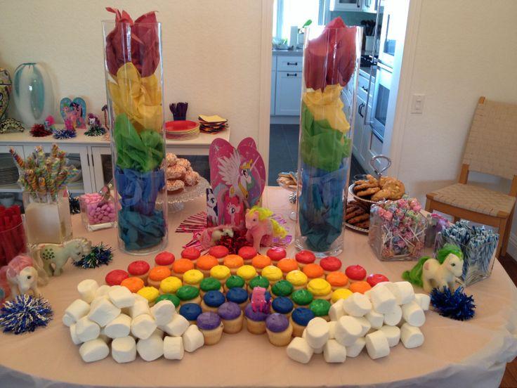 My Little Pony rainbow birthday dessert table candy bar