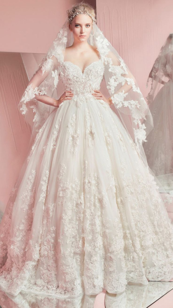 21 best cute bridesmaid dresses images on pinterest bridesmaids zuhair murad spring summer 2016 bridal strapless sweetheart neckline lace embroidery romantic white wedding ball gown dress with veil pam ombrellifo Gallery