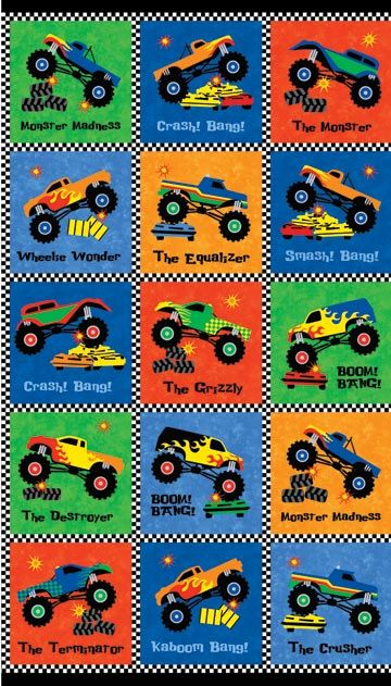 Monster Truck Madness 20220-45 by Northcott Fabrics