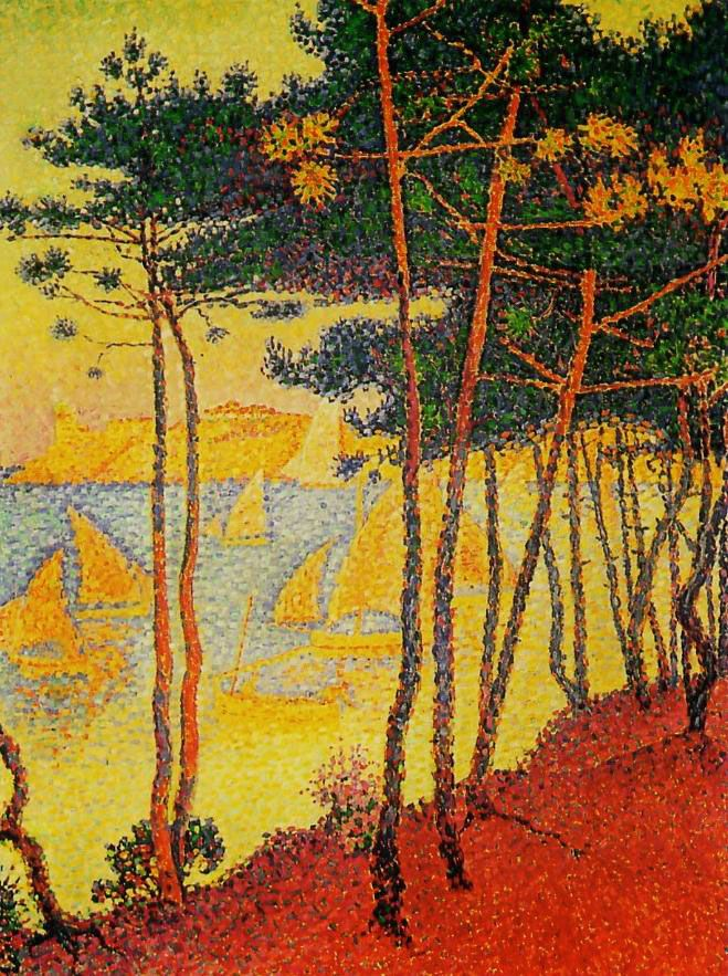 worldpaintings:    Paul Signac  Voiles et Pins, 1896, oil on canvas, 81 x 52cm, private collection.