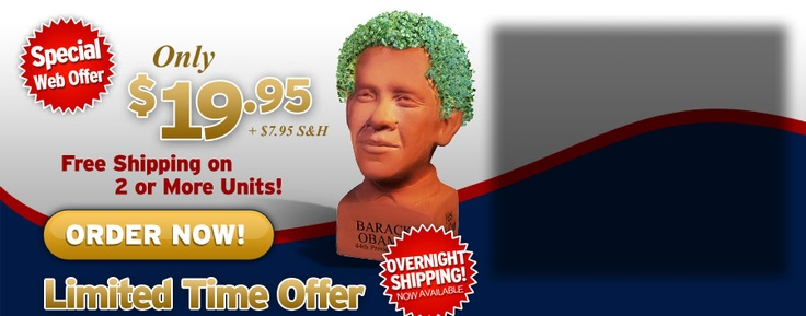 The Barack Obama Chia Pet--it's the gift that keeps on Spending.  In fact, they'll waive the shipping (but you'll be signed up for a $19.95 weekly, nonrefundable, non-usable autopayment to ObamaCare).