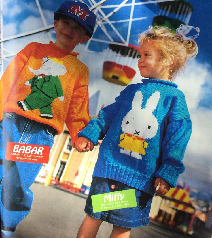 Miffy and Babar  jumper.  Patons.  Kid's knitted jumper.  Handmade Mar/Apr 1996 Vol 12 no 2.  Age 2-5yo.  8 ply