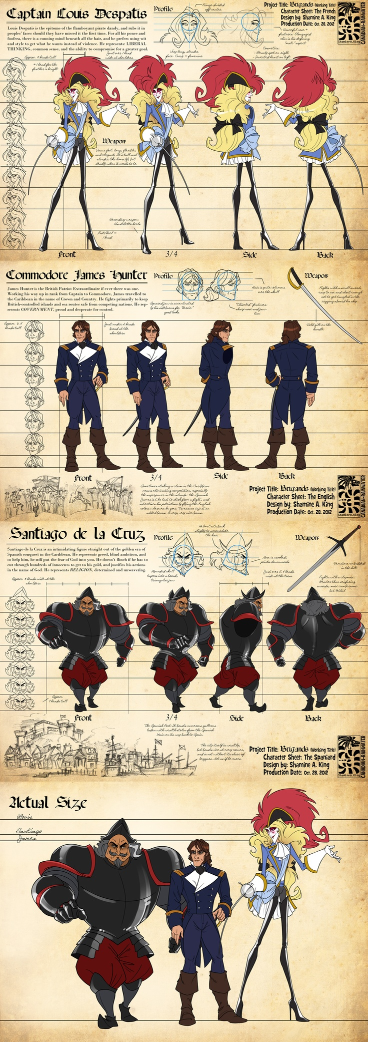 Character Turnarounds - Louis, James, Santiago by *Canadian-Rainwater on deviantART