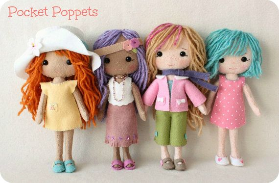 Complete set of pdf Patterns for Pocket Poppet Doll by Gingermelon, $22.50