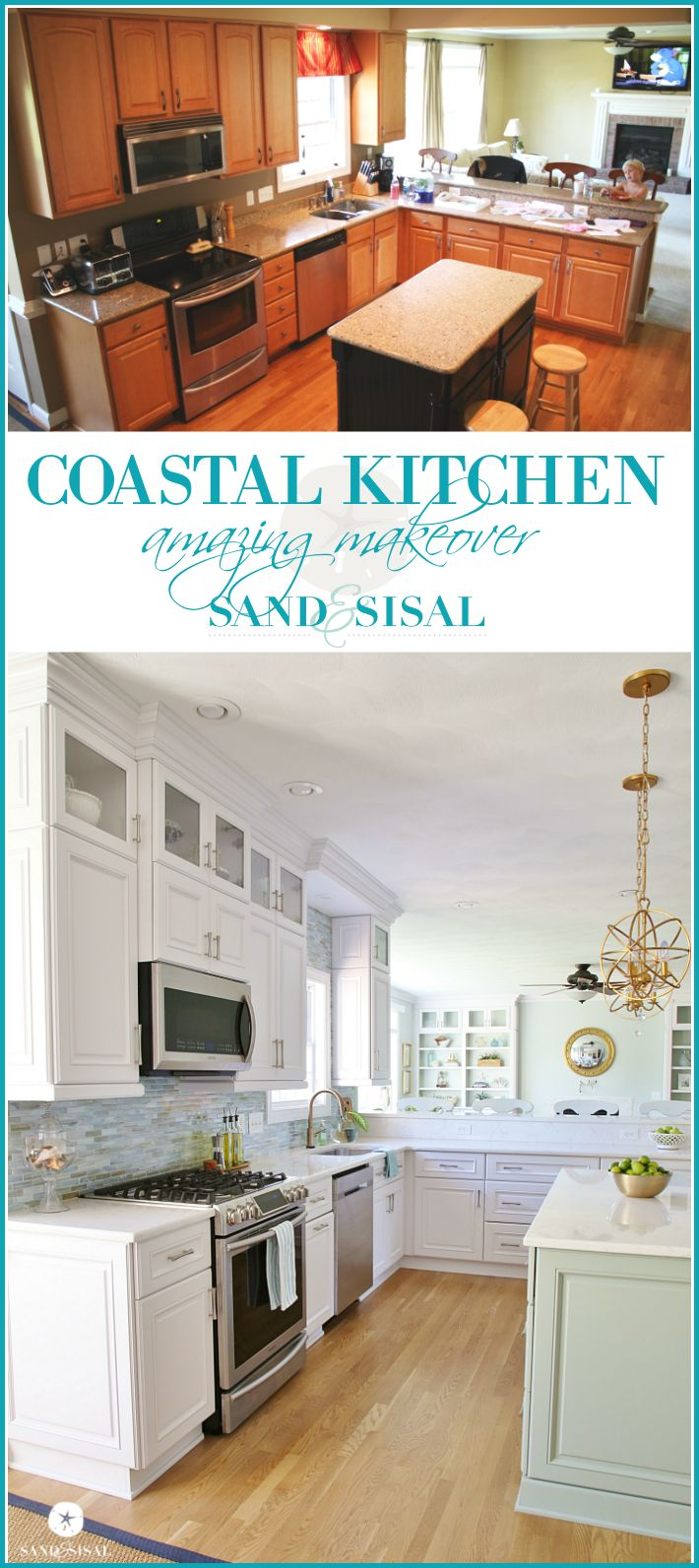 Coastal Kitchen Makeover - sandandsisal.com                                                                                                                                                                                 More