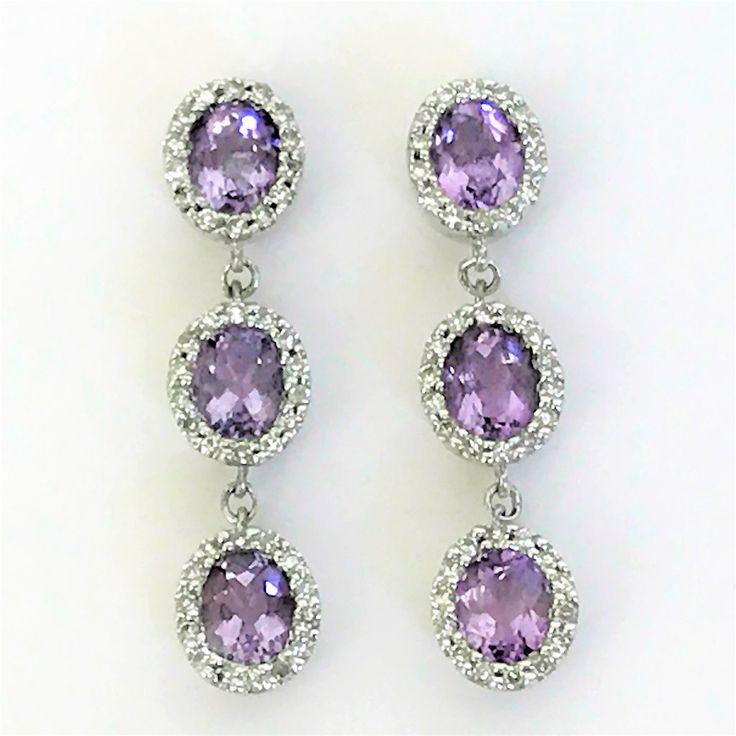 9ct White Gold Amethyst& Diamond Drop Earrings