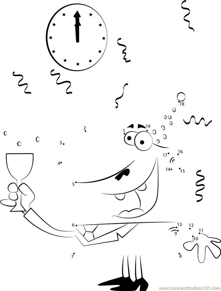 Cartoon Man Celebrating New Years Dot To Dot Printable Worksheet Connect The Dots Cartoon Man Cartoon Printable Worksheets