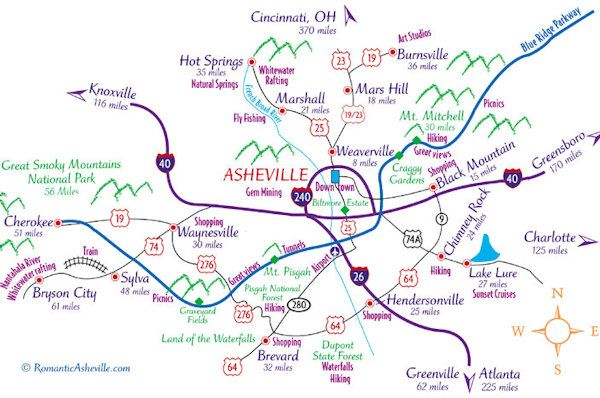 Downtown Asheville NC Map
