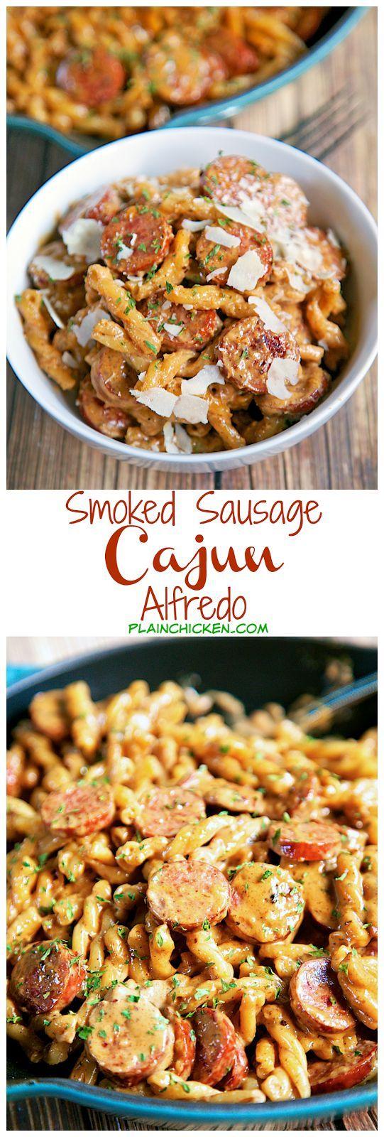 Smoked Sausage Cajun Alfredo - Only 5 ingredients - smoked sausage, pasta, cajun seasoning, heavy cream and parmesan - ready in under 15 minutes! No prep! Very similar to our all-time favorite Chicken Lazone, but with smoked sausage. OMG! AMAZING! Make th