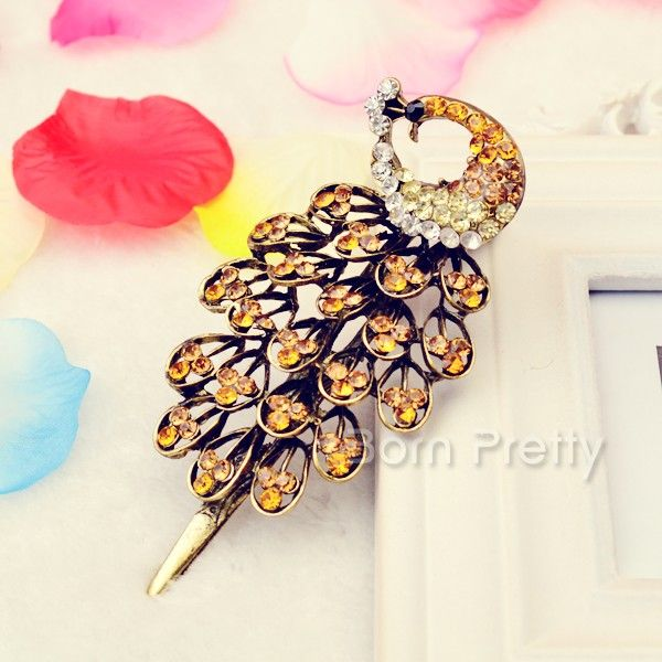 $5.44 4 Colors Vintage Jewelry Crystal Peacock Hair Pin Clip - BornPrettyStore.com