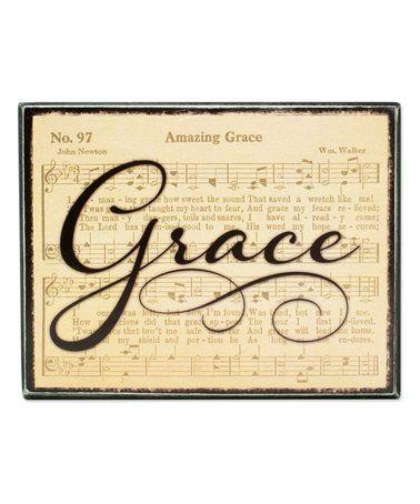 'Amazing Grace' Classic Hymn Box Sign #zulily #zulilyfinds