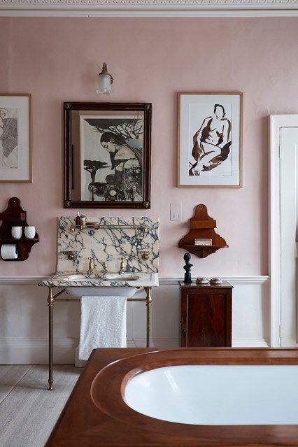 Pink Walls and Victorian Details | Bathroom