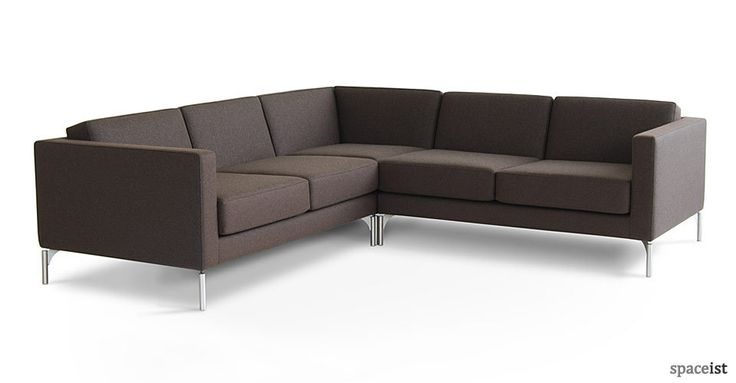 Elegant And Simple L Shape Sofa In Deep Brown Fabric