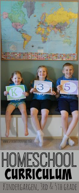 Homeschool Curriculum for Kindergarten, 3rd grade, and 5th grade - so many great ideas from a homeschooling mom where it only takes 3-4 hours a day, 4 days a week.