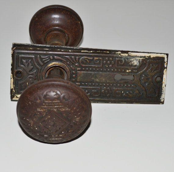 antique metal door knob set vintage door knob by - Antique Door Hardware