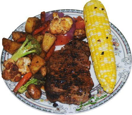 1-plate #dinner! #corn is still fresh. New #potatoes are at #market. The #steak was treated with a #montrealsteakspice #dryrup and seared in a hot #pan with #sunflour oil diced #onion and #garlic. While the corn finished steaming (we prefer boiled or steamed) the steak was finished on the #grill and the #caramelized #leftovers were used to #panfry the #parboiled #potato and the other #vegetables. Galganov's #recipes and more - #Food Matters!