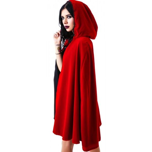 Short Velvet Hooded Cape ❤ liked on Polyvore featuring outerwear, short cape, short red cape, short cape coat, cape coat and red cape
