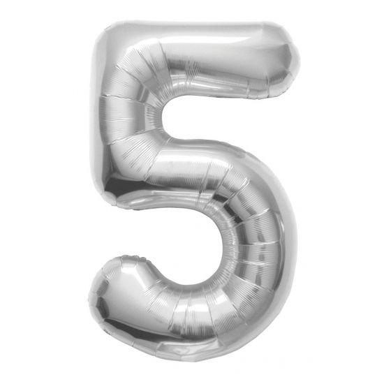 Helium ballon cijfer 5 zilver. Een zilverkleurige folie ballon in de vorm van het cijfer 5. De ballon wordt gevuld met helium bij u bezorgd. De ballon is opgeblazen ongeveer 86 cm groot. Deze folie ballon wordt gevuld met helium geleverd en kan derhalve niet worden geretourneerd.
