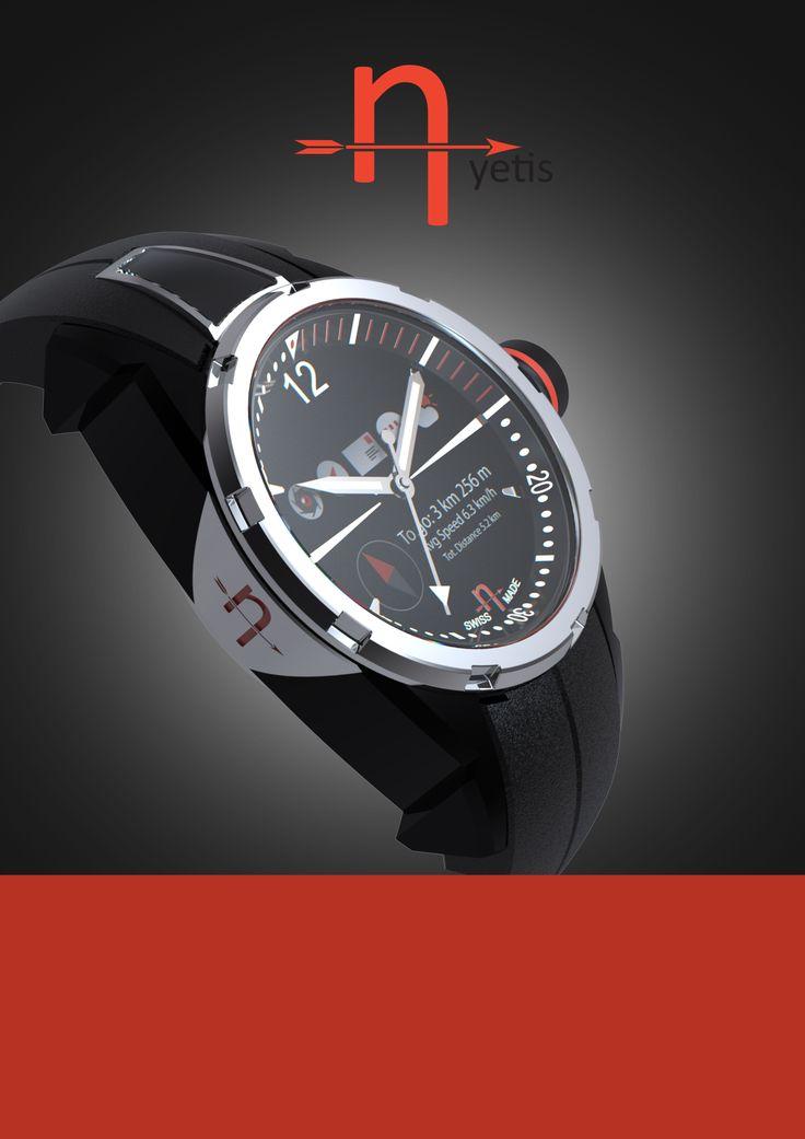 Redline Black ceramics smartwatch automatic movement.