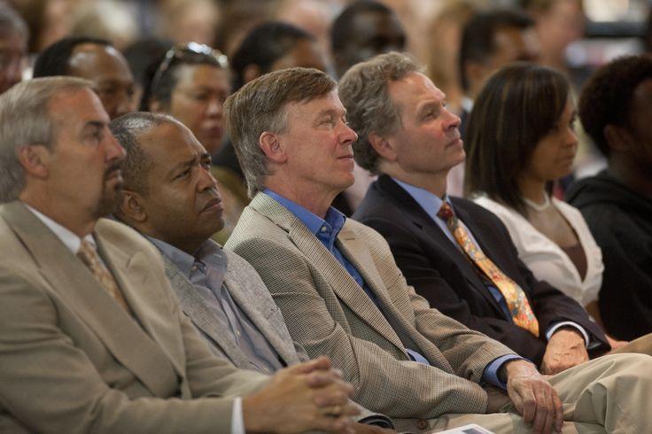 Governor Hickenlooper and Former Mayor Bill Vidal listening to the speech