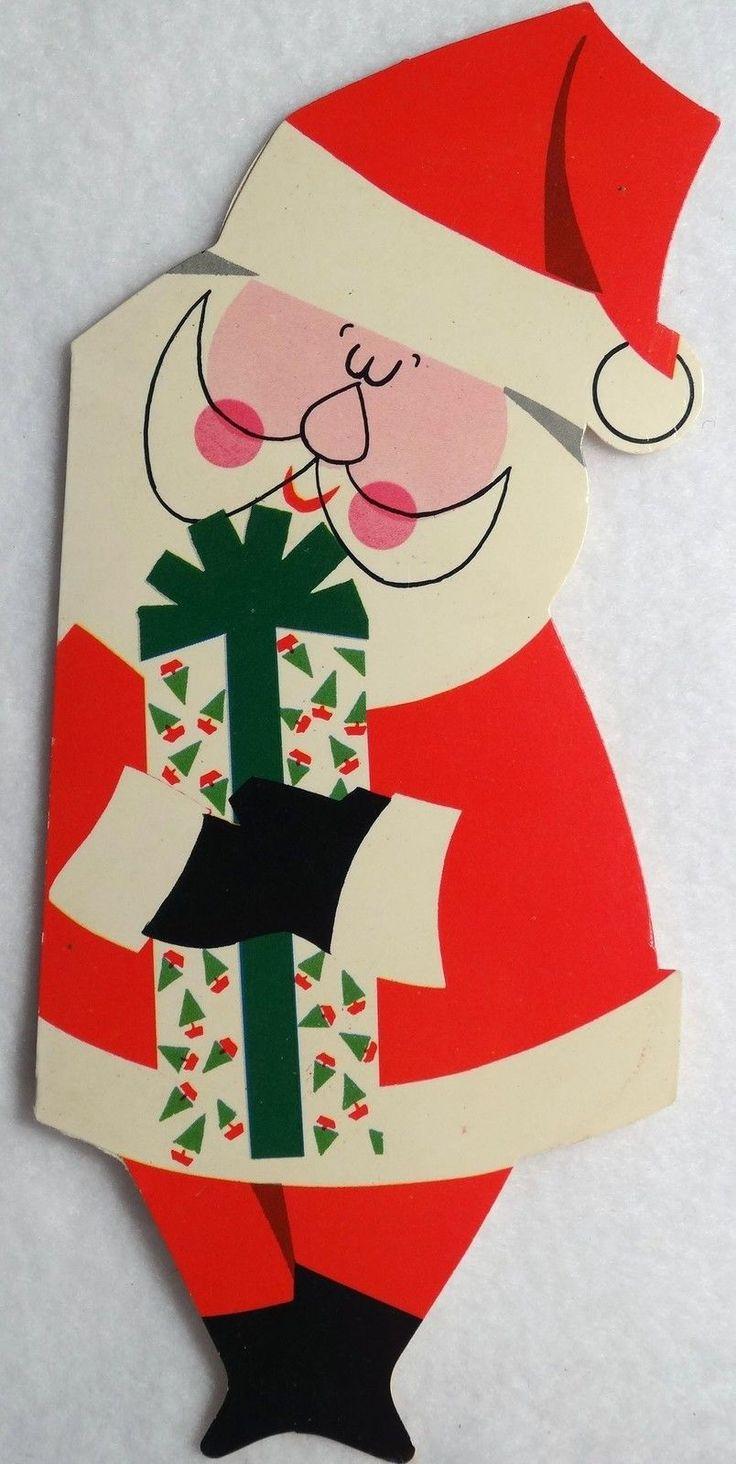 1031 best vintage christmas greeting cards twelve images on 194 50s unused glossy mid century santa vintage diecut christmas greeting card m4hsunfo Gallery