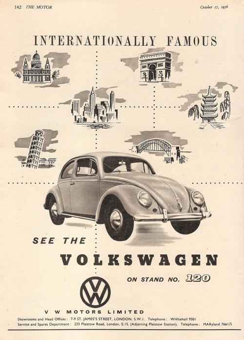 Volkswagen Motors - Beetle - car advert issued inThe Motor, 1956 (via mikeyashworth)