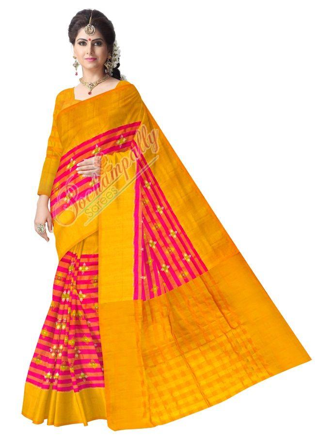 ikat tishu pinc color saree