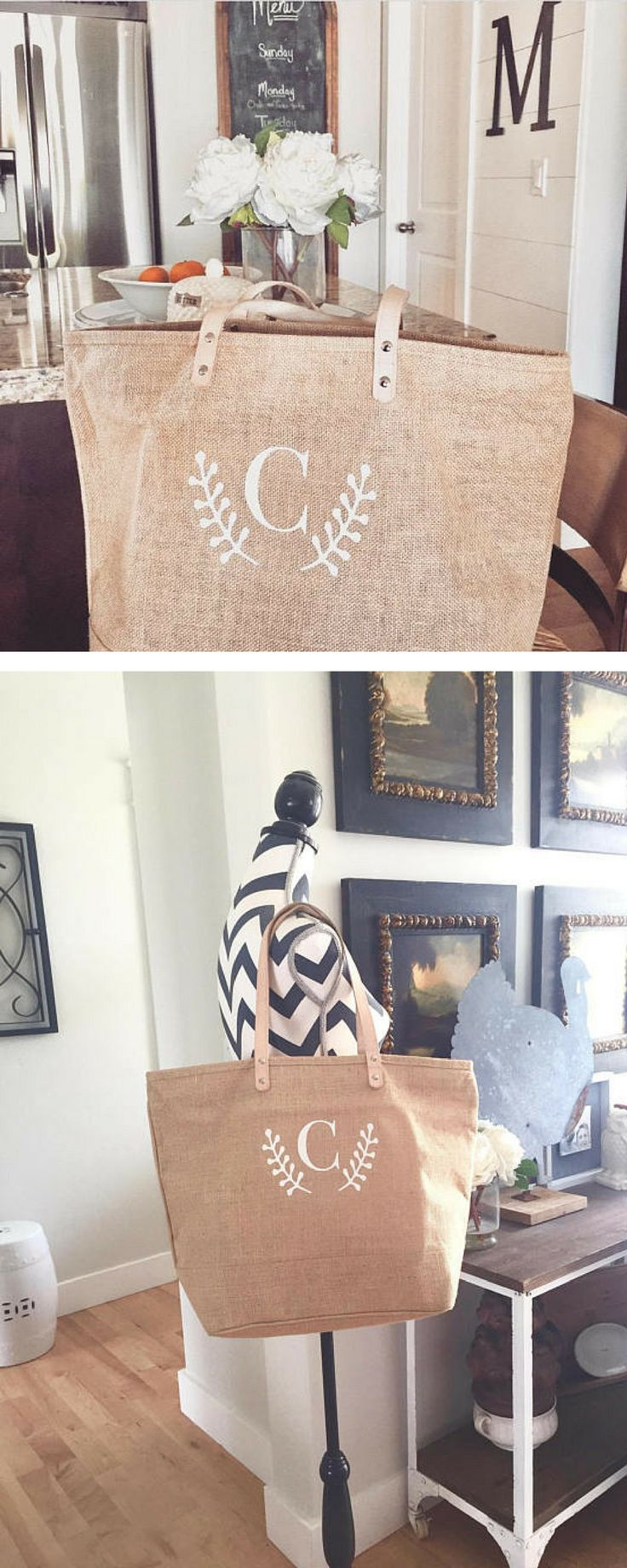 I love this personalized, monogrammed jute tote bag. It's the perfect beach bag. #commissionlink #totebag #jute #beach #natural #personalized #monogrammed