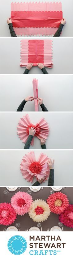 Martha Stewart-Tissue Paper Pom Pom Kit. Create fun, festive party decorations with these beautiful pom-poms in different shades. This 11x11-1/2 inch package contains fifty large spiked tissue sheets,