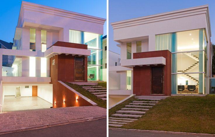 telhado platibandaHome, House Blue-Clear, Fazer Casa, House, Architecture, Casa Sem, Inspiração Casa