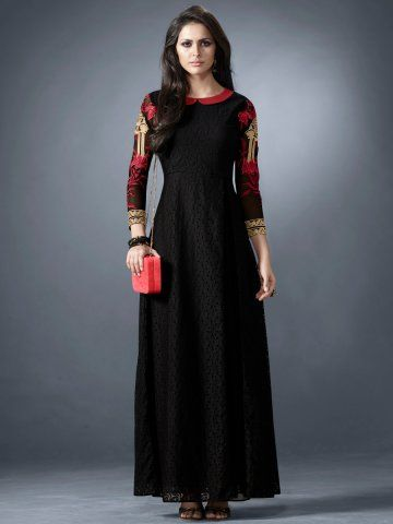 Eternal Black Embroidered Floor Length Kurti  #Eternal #FloorLength #Kurti
